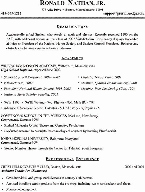Sample College Resume High School Senior Best Resume
