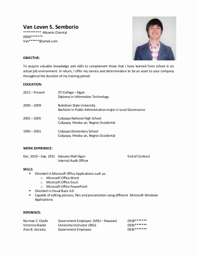 Sample College Student Resume Examples with Objective