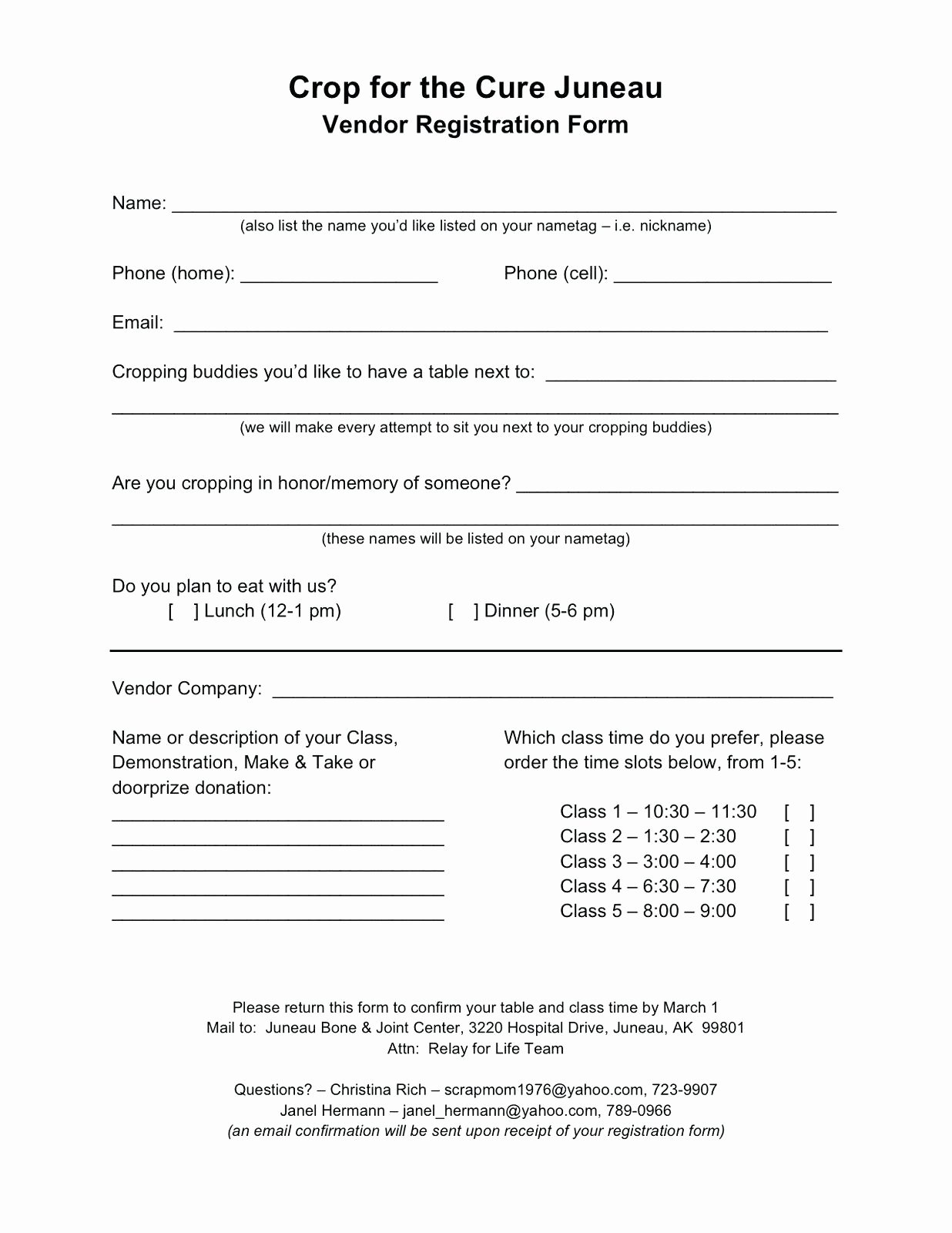 Sample Conference Registration form Template