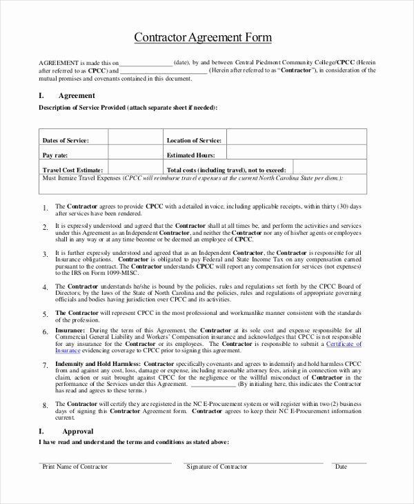 Sample Contractor Agreement form 9 Free Documents In