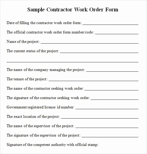 Sample Contractor Work order forms