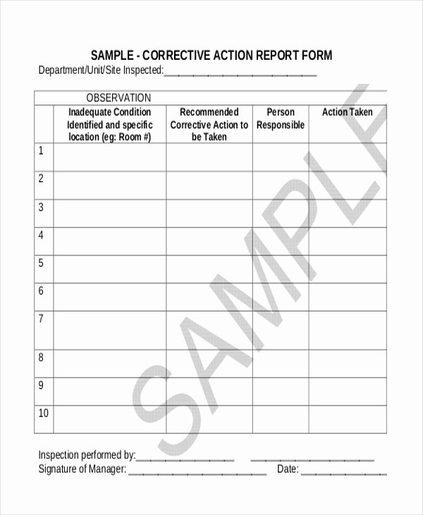 Sample Corrective Action form 10 Free Documents In Doc Pdf