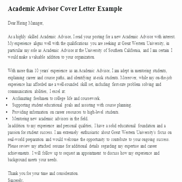 Sample Cover Letter Academic Advisor – Bezholesterol