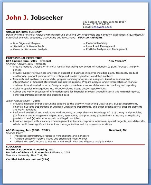 Sample Cover Letter Financial Analyst Resume Sample