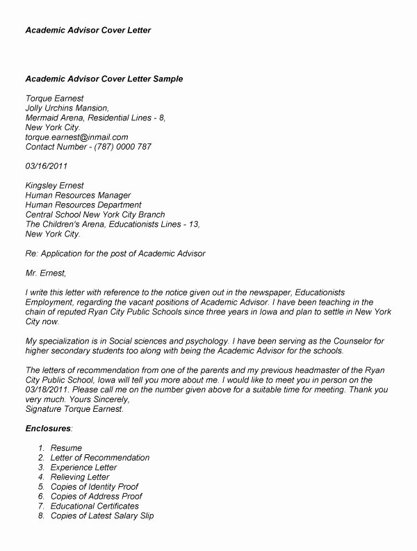 Sample Cover Letter for Academic Advisor Letter Template