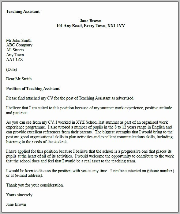 Sample Cover Letter for assistant Teacher Cover Letter