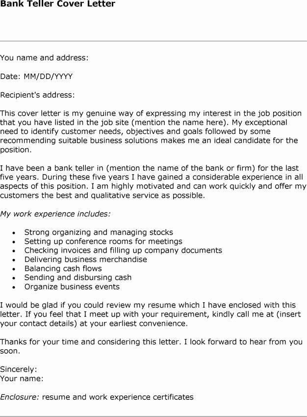 sample cover letter for bank jobs