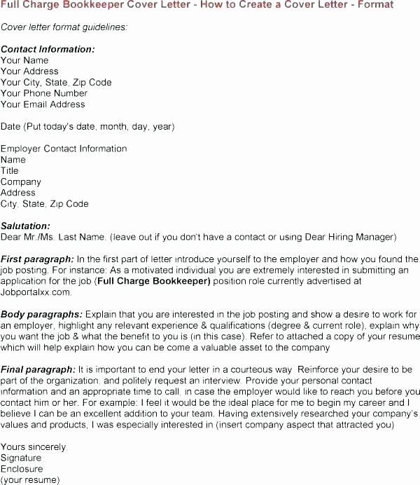 Sample Cover Letter for Bookkeeper – Bezholesterol