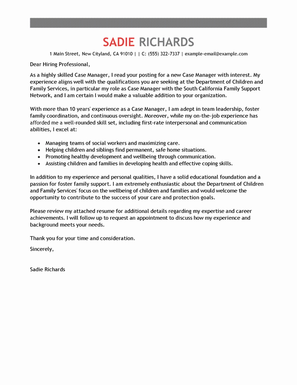 Sample Cover Letter for Director social Services