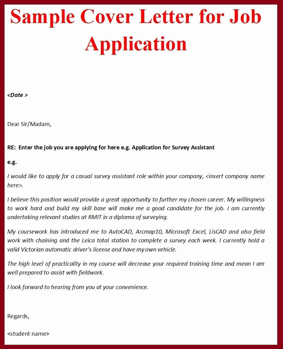 Sample Cover Letter for Job