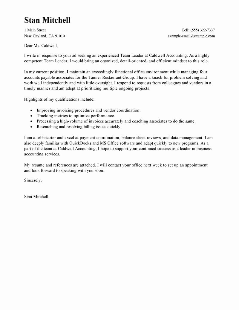 Sample Cover Letter for Leadership Role Resume Acierta