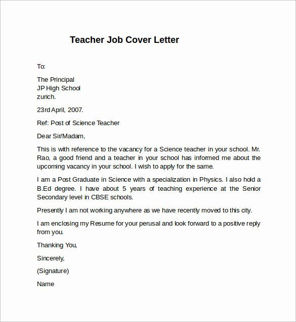 Sample Cover Letter for Teaching Job Application Cover