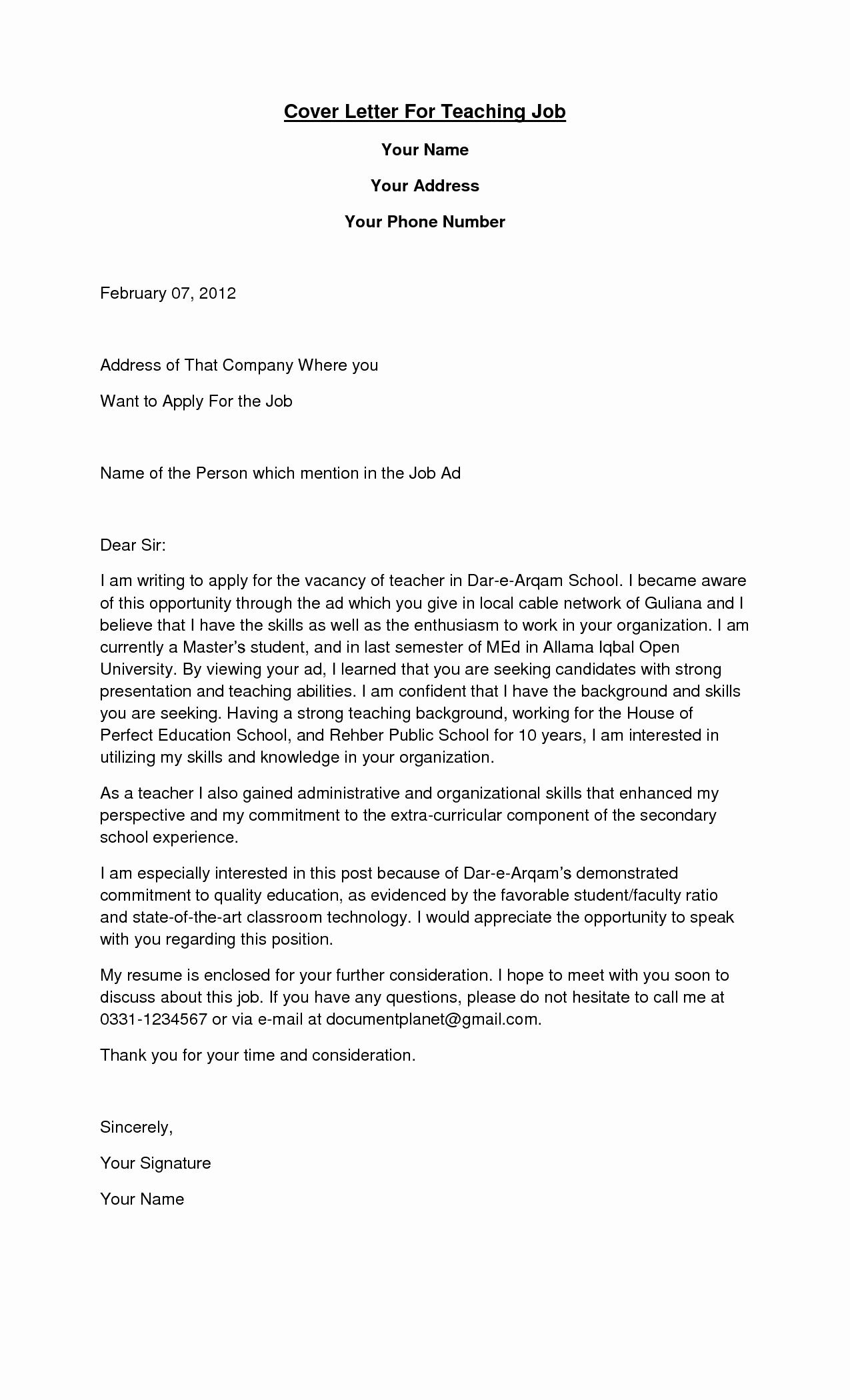 Sample Cover Letter for Teaching Position