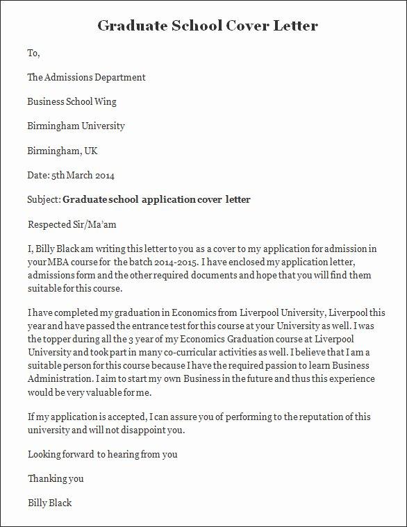Sample Cover Letter Graduate School Sample Job