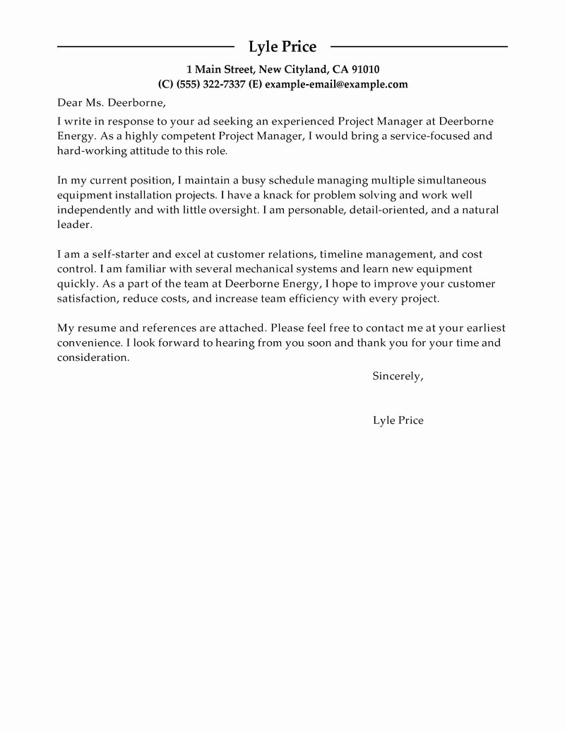 Sample Cover Letter Live Career Cover Letter Examples