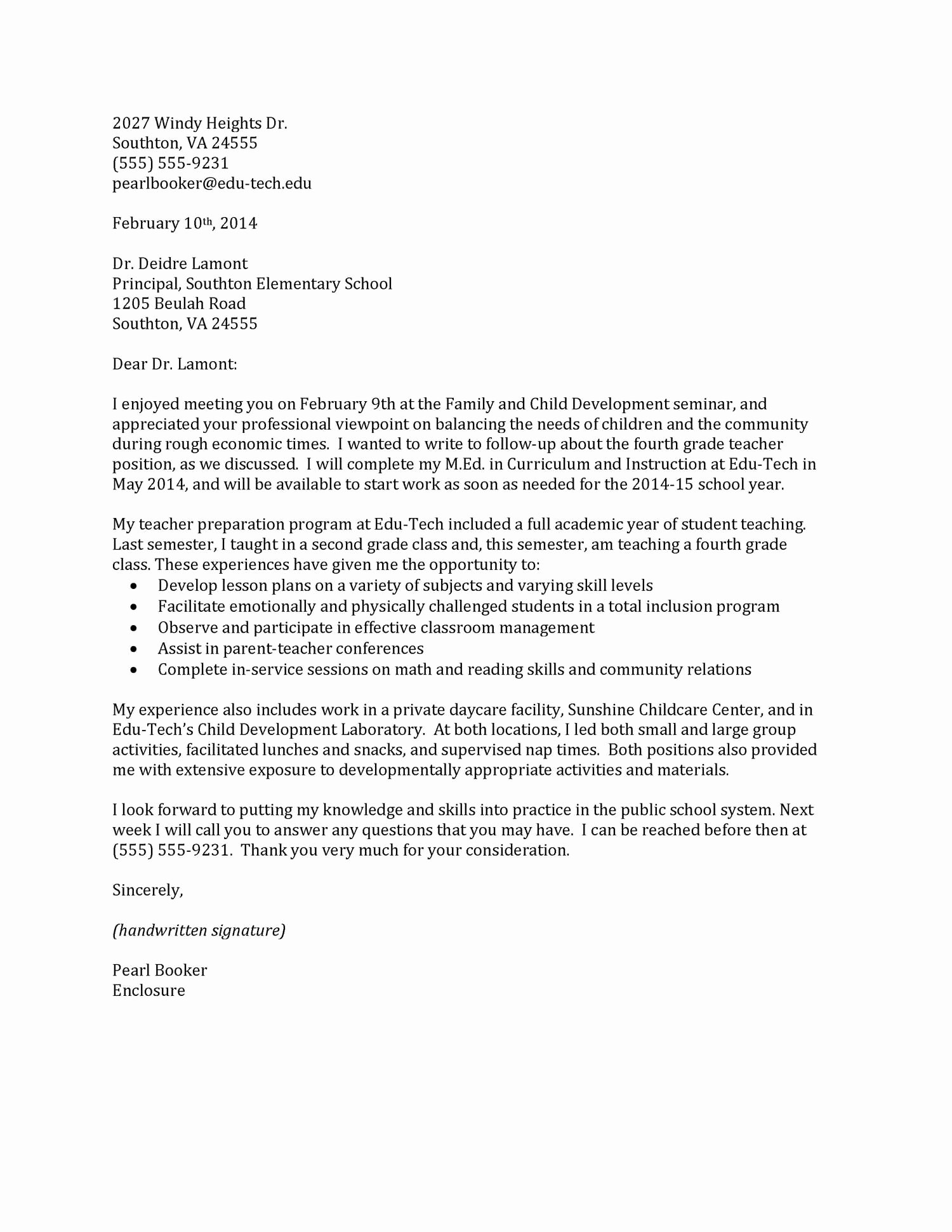 Sample Cover Letter Sample Cover Letter Elementary Teacher