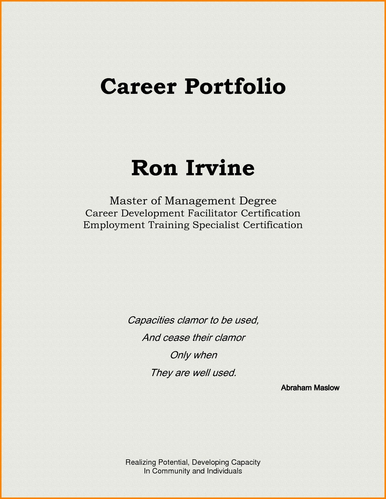 Sample Cover Page for Professional Portfolio Best