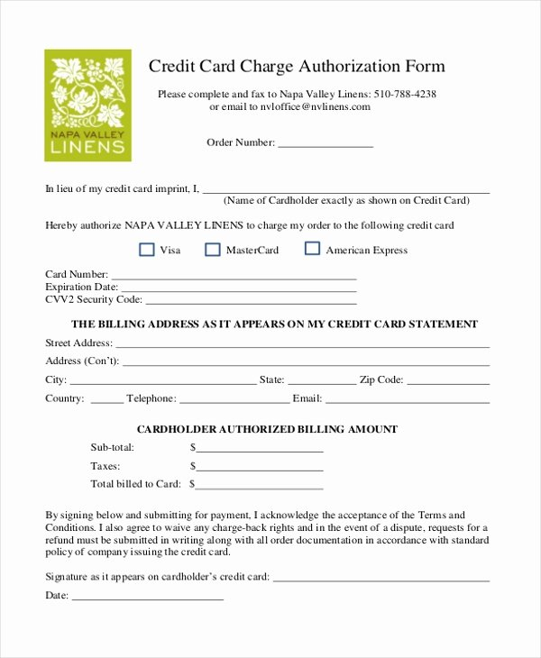 Sample Credit Card Authorization form 12 Free Documents