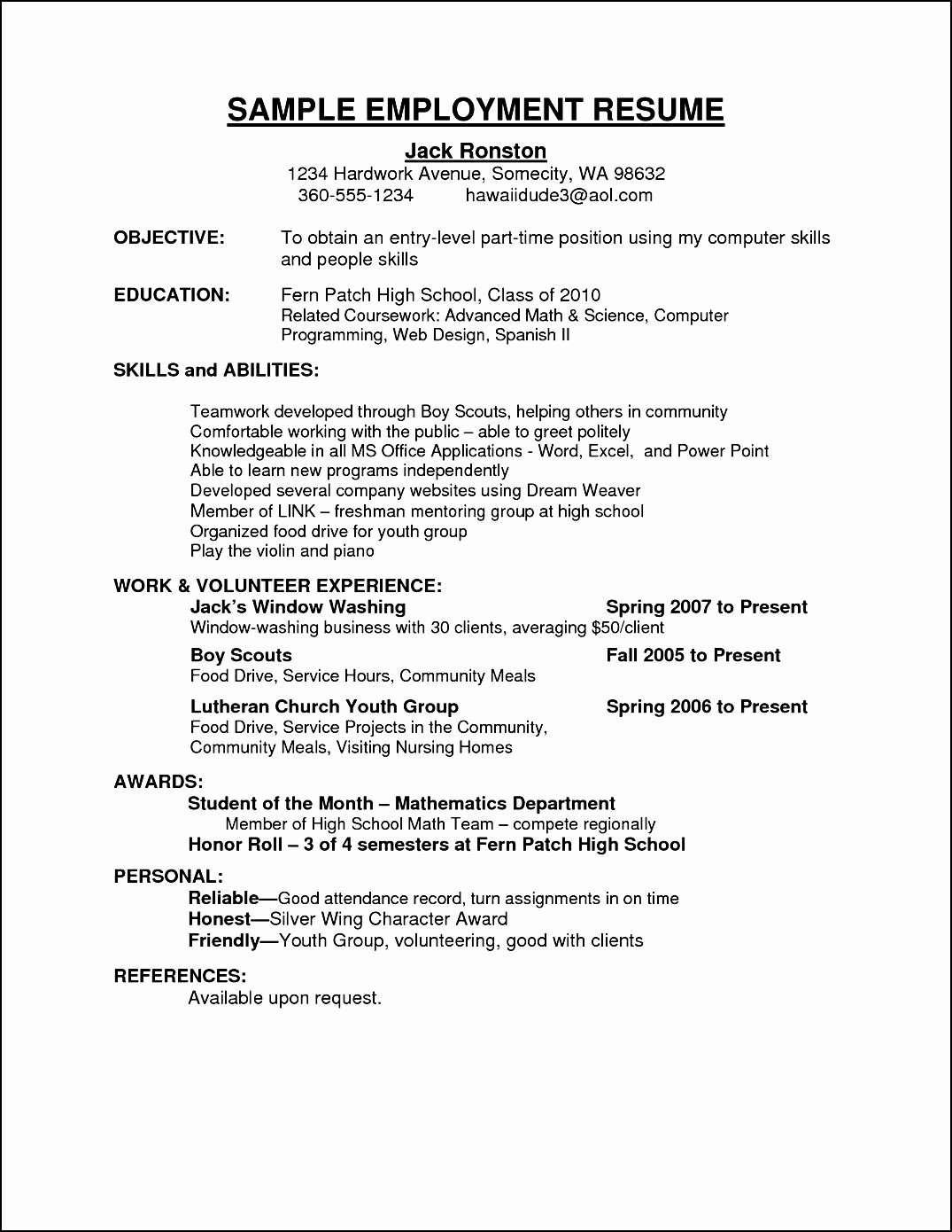 Sample Curriculum Vitae for Employment Free Samples