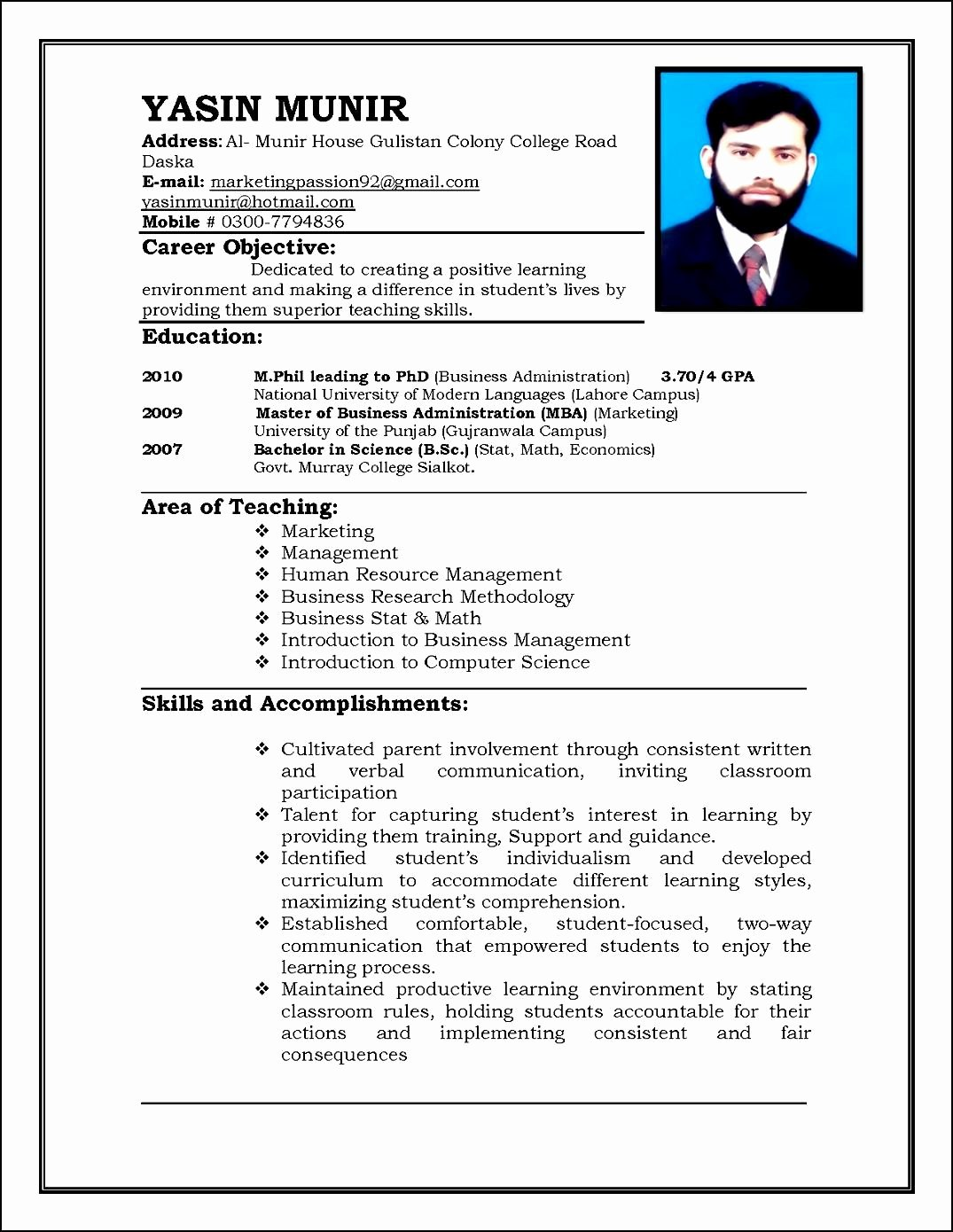 Sample Curriculum Vitae for Teachers Free Samples