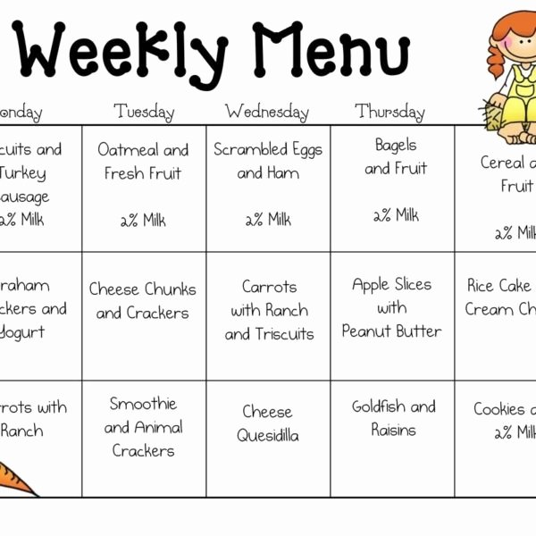 Sample Daycare Menu Templates Preschool