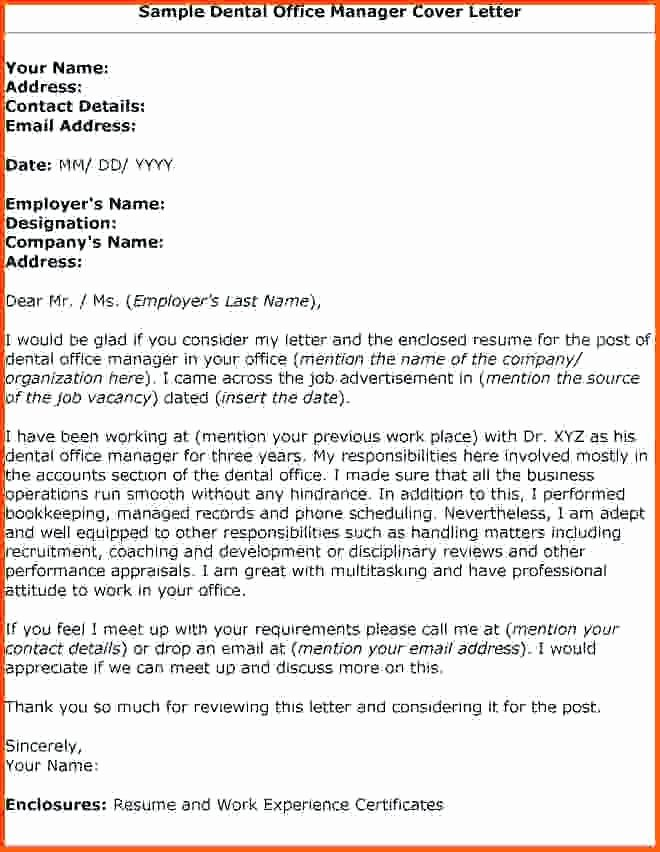 Sample Dental Fice Manager Cover Letter