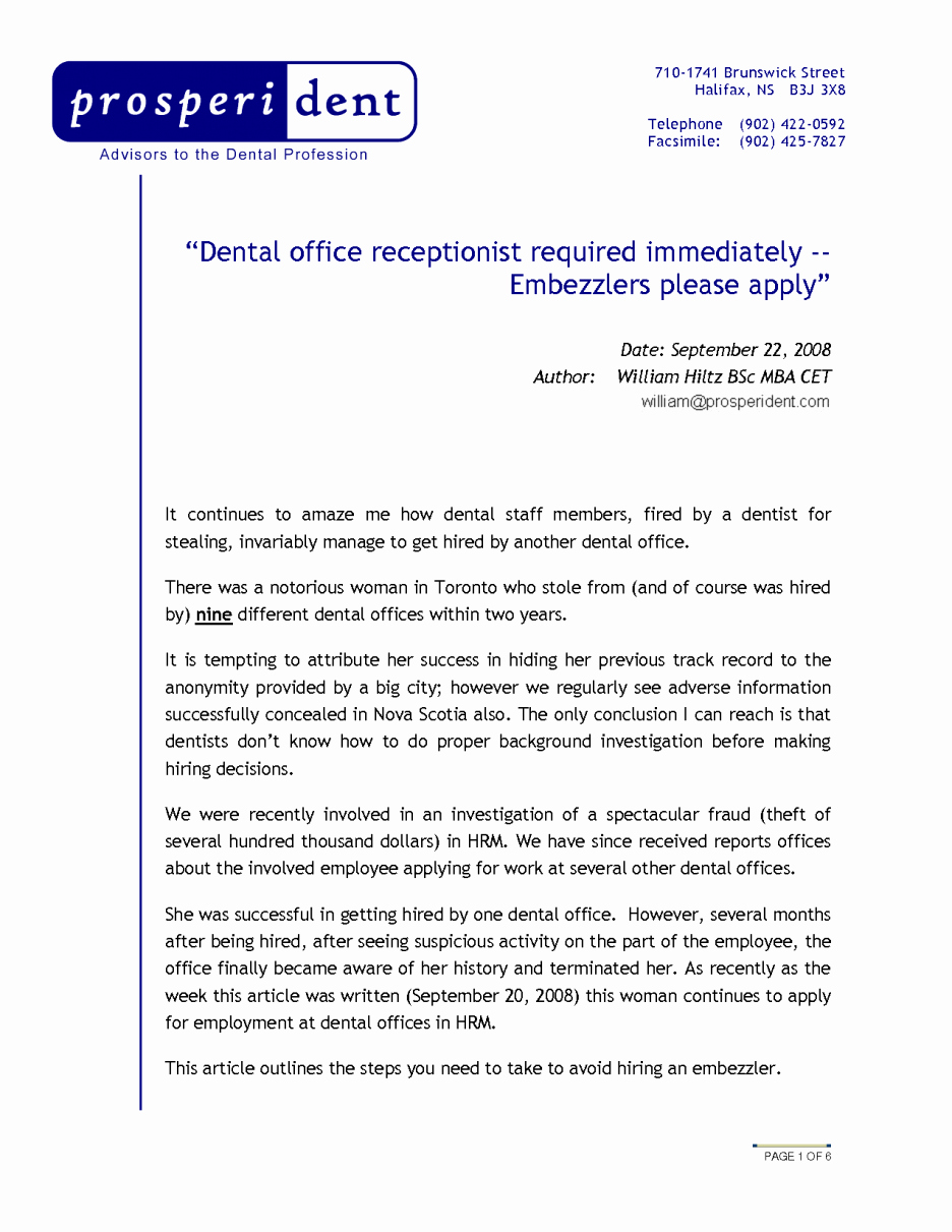 Sample Dental Front Fice Cover Letter