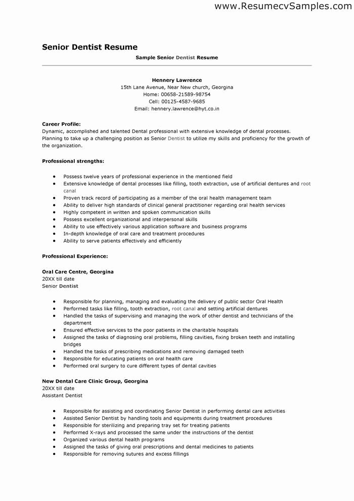 Sample Dentist Resume Resume Ideas