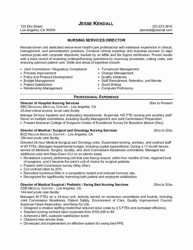 Sample Director Of Nursing Resume Jobresumesample