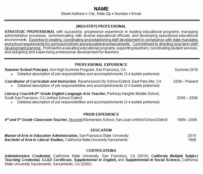 Sample E Page Resume