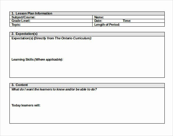 Sample Elementary Lesson Plan Template 10 Free