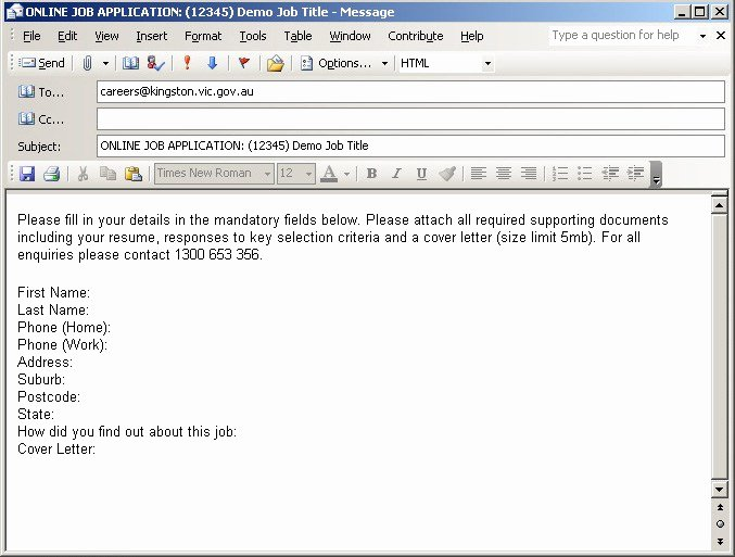 Sample Email Job Application Letter Cover Email Example