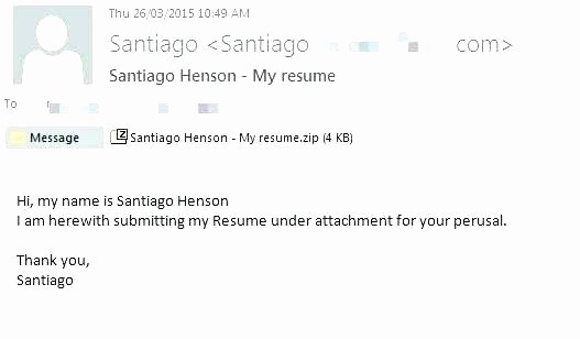 Sample Email Sending Resume for Cover Letter Via and