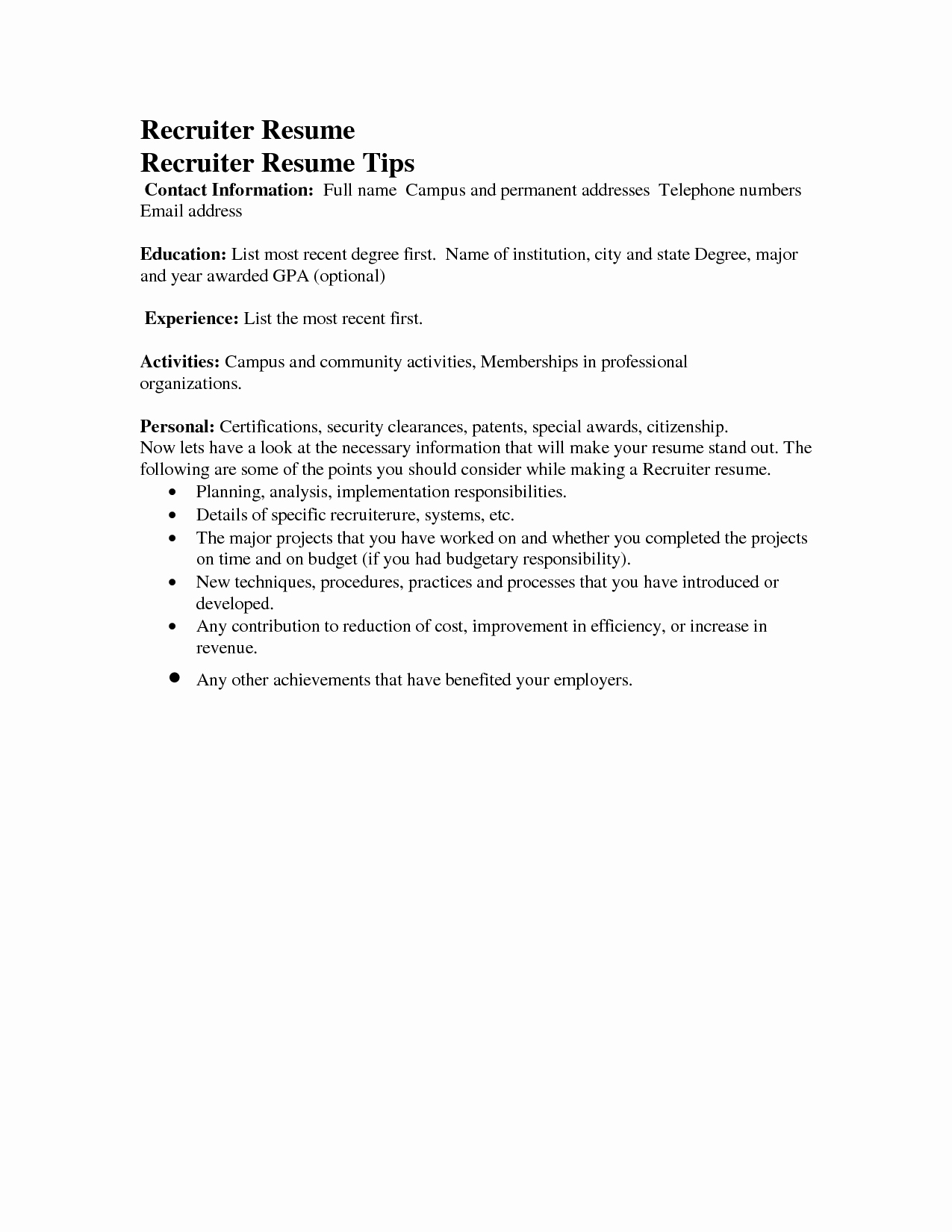 Sample Email to Send Resume to Recruiter Cover Letter