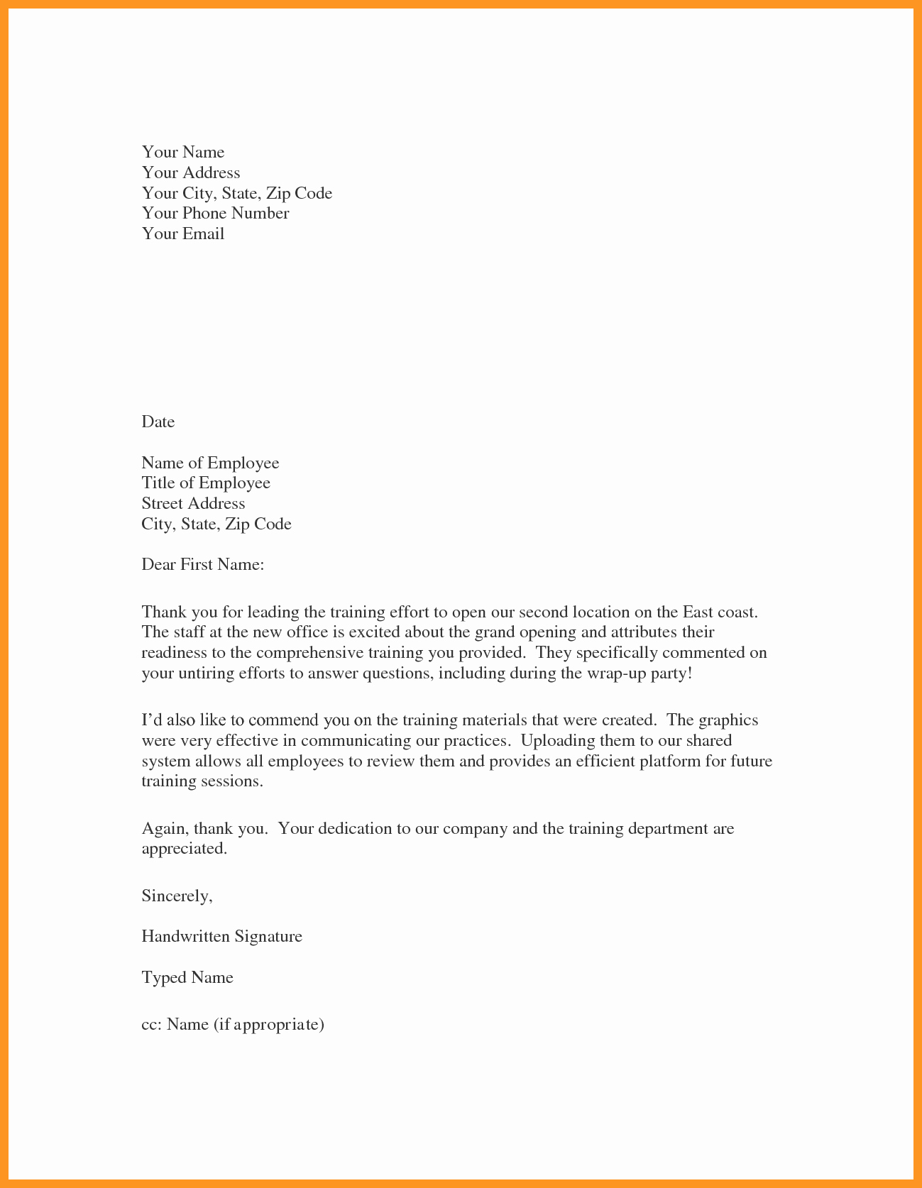 Sample Employee Appreciation Letter