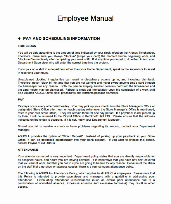 Sample Employee Manual Template 8 Documents In Pdf