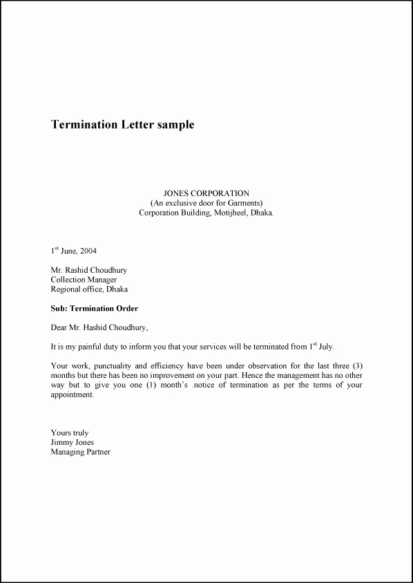 Sample Employee Termination Letter