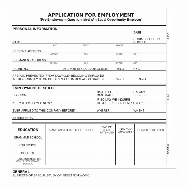 Sample Employment Application forms 12 Free Documents