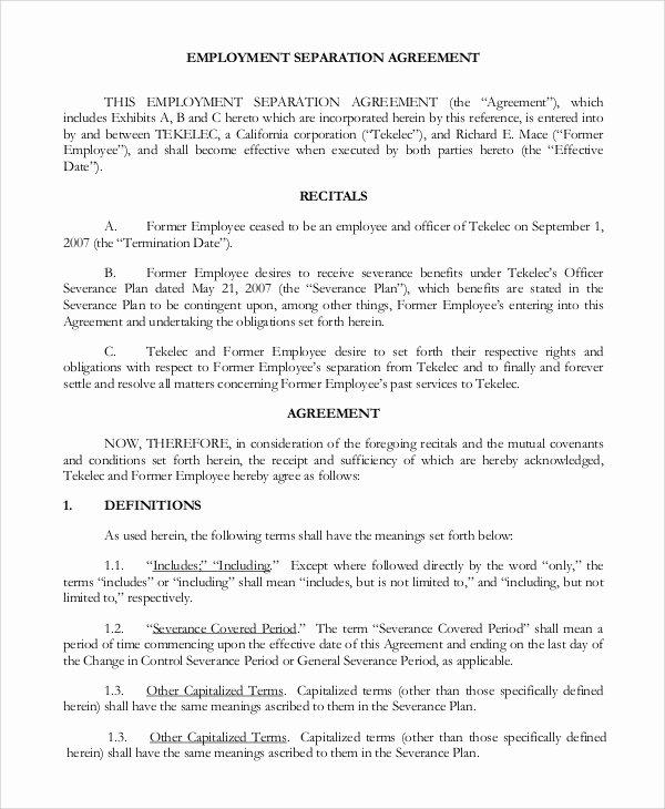 Sample Employment Separation Agreements Sarahepps