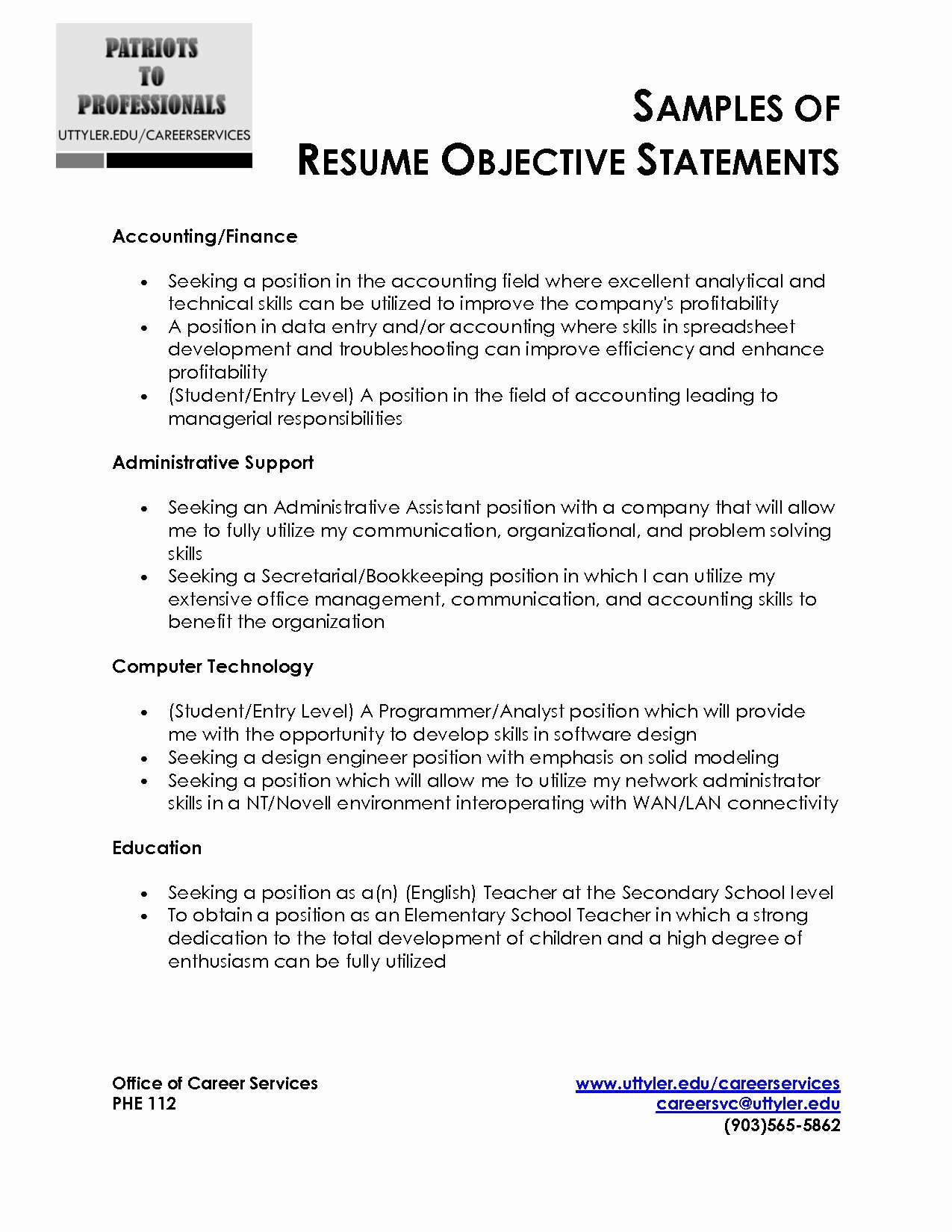 Sample Entry Level Resume Objective Statements