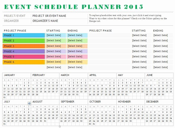 Sample event Schedule Planner Template is Designed for