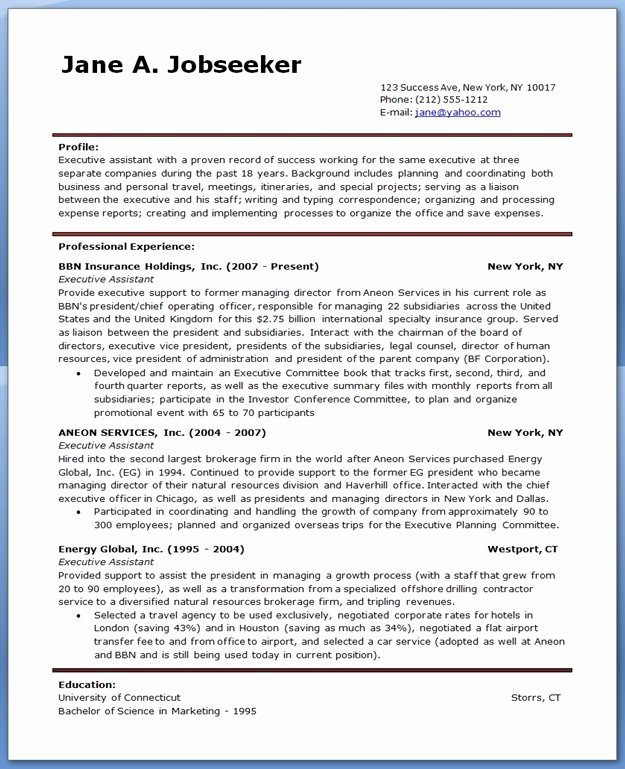 Sample Executive assistant Resume