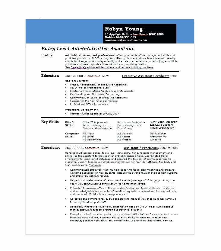 Sample Executive assistant Resume 6 Examples format Skills