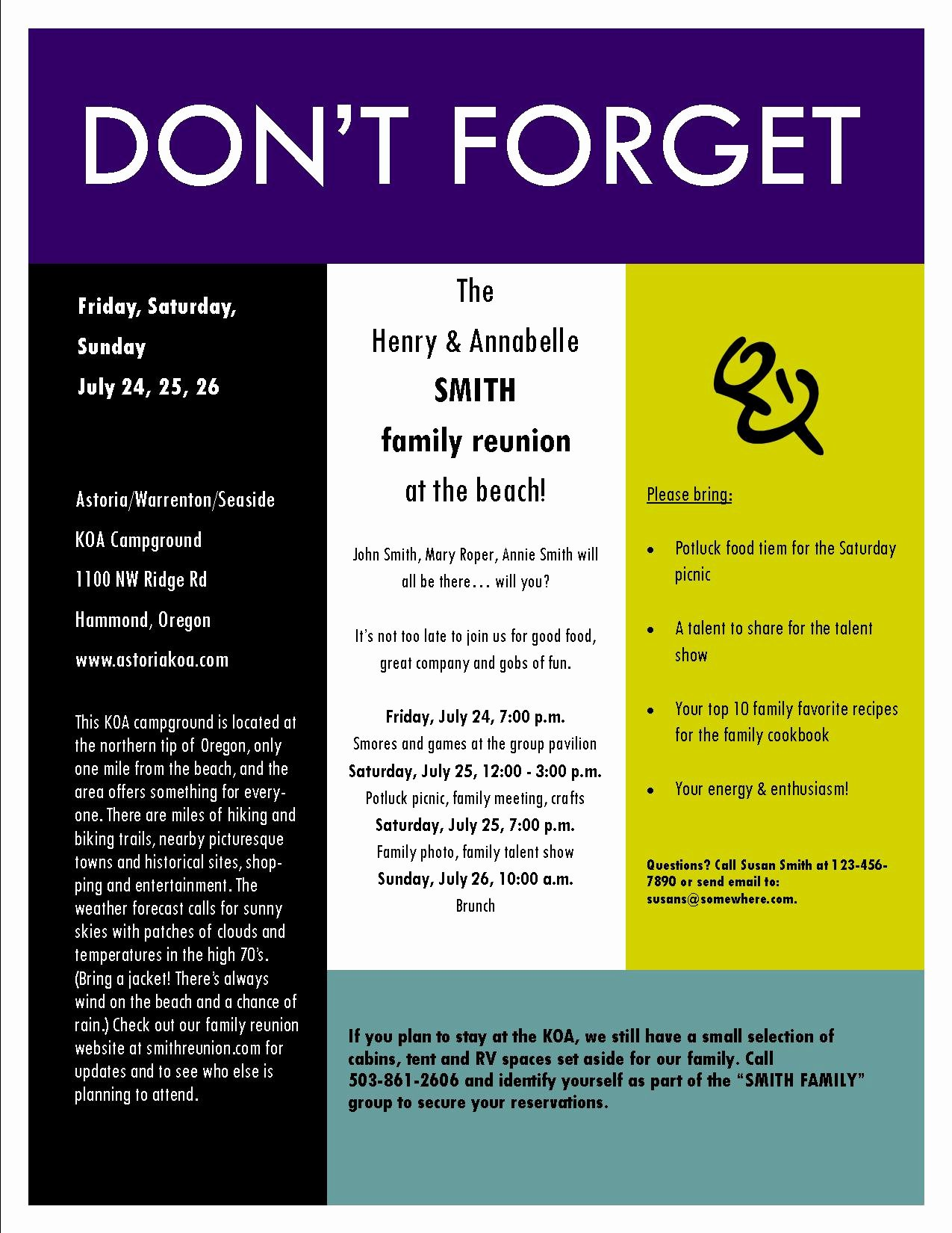 Sample Family Reunion Invitation Flyer Ideas for Reunions