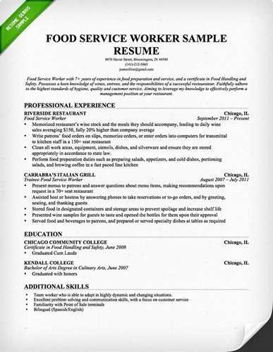 Sample Fast Food Cashier Resume