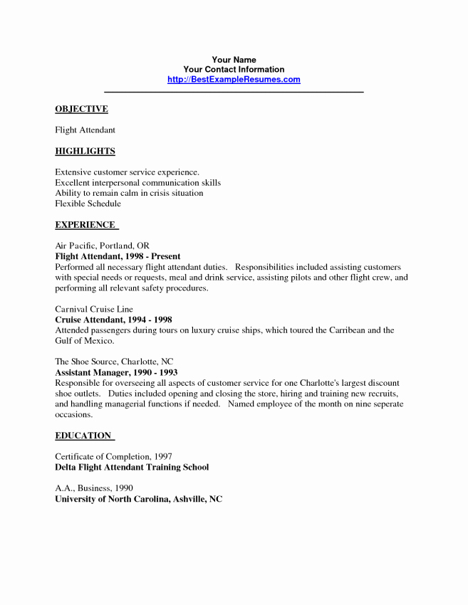 Sample Flight attendant Resume Resume Sample Resume
