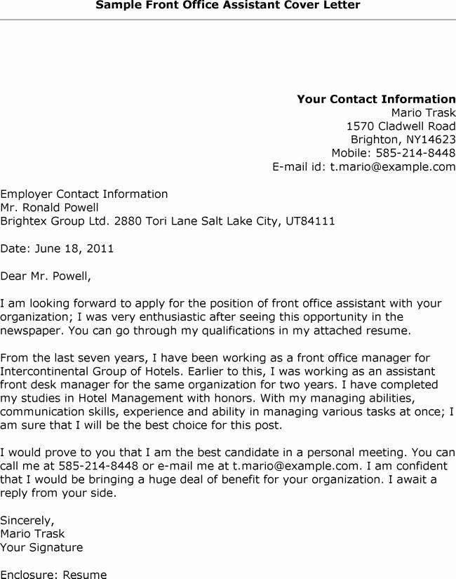 Sample Front Desk Cover Letter