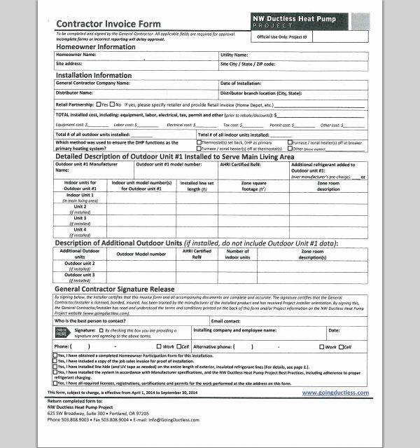 Sample General Contractor Invoice