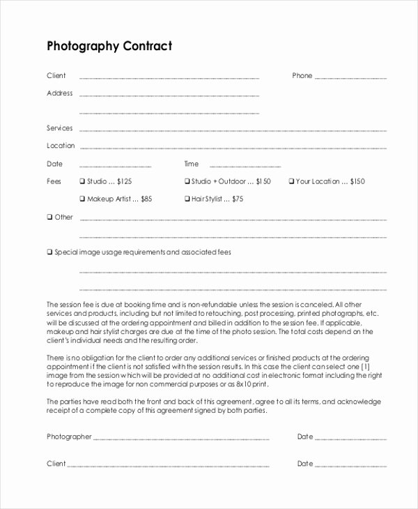 Sample Graphy Contract form 10 Free Documents In