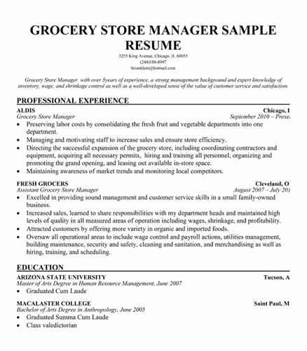 Sample Grocery Store Manager Resume